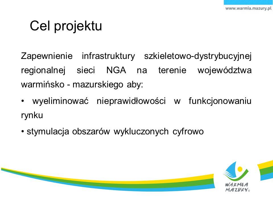 Cel projektu Zapewnienie infrastruktury szkieletowo-dystrybucyjnej regionalnej sieci NGA na terenie województwa warmińsko - mazurskiego aby: