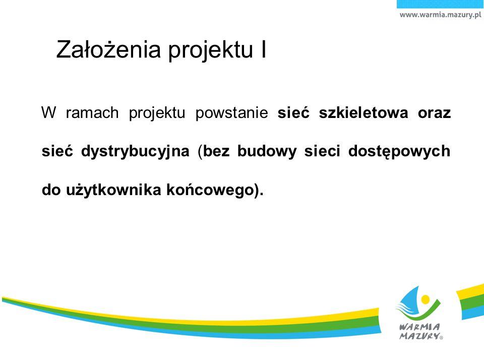 Założenia projektu I W ramach projektu powstanie sieć szkieletowa oraz sieć dystrybucyjna (bez budowy sieci dostępowych do użytkownika końcowego).