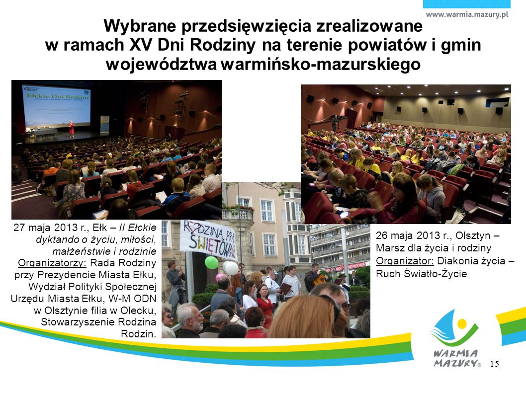 Wybrane przedsięwzięcia zrealizowane w ramach XV Dni Rodziny na terenie powiatów i gmin województwa warmińsko-mazurskiego
