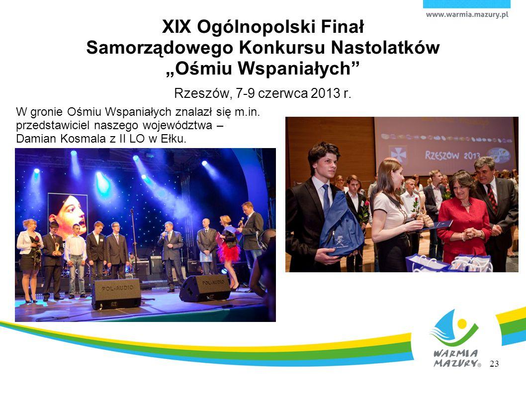 """XIX Ogólnopolski Finał Samorządowego Konkursu Nastolatków """"Ośmiu Wspaniałych Rzeszów, 7-9 czerwca 2013 r."""