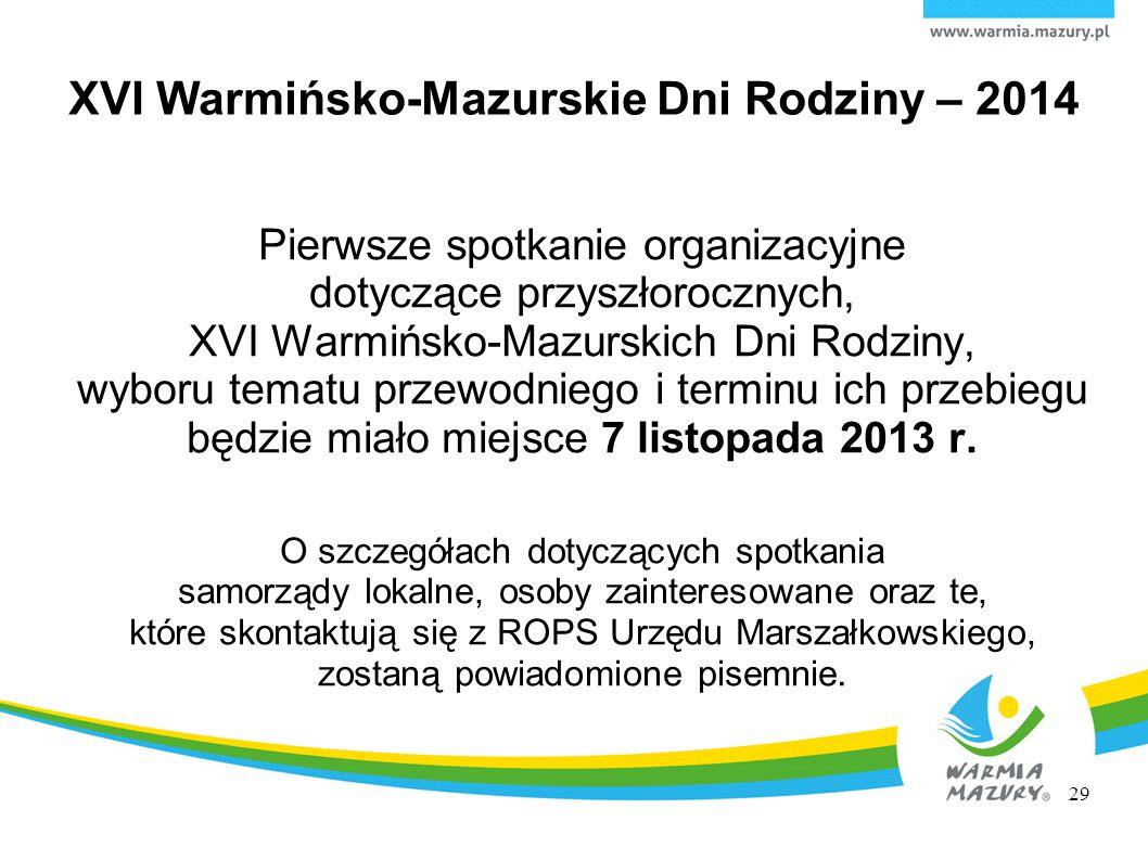 XVI Warmińsko-Mazurskie Dni Rodziny – 2014