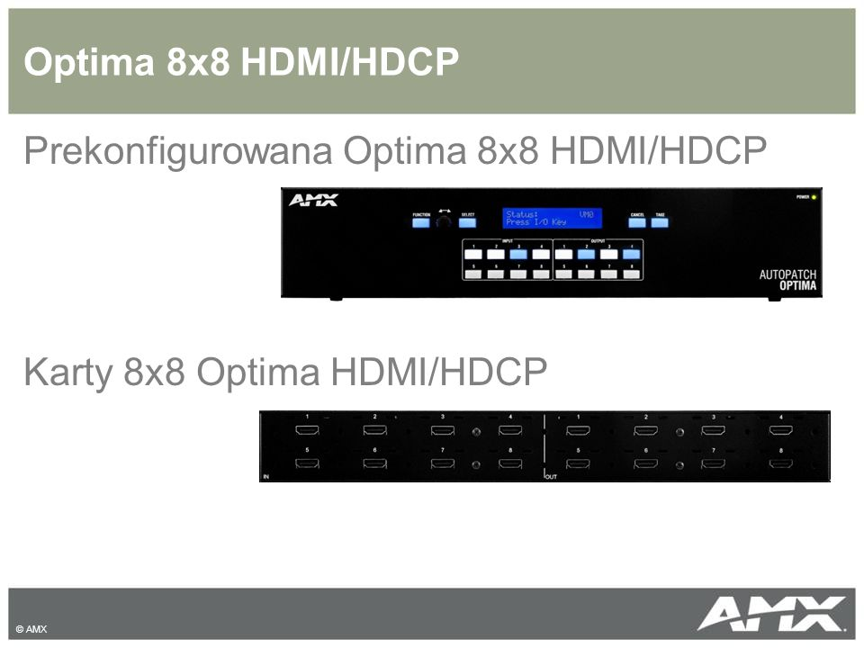 Prekonfigurowana Optima 8x8 HDMI/HDCP Karty 8x8 Optima HDMI/HDCP