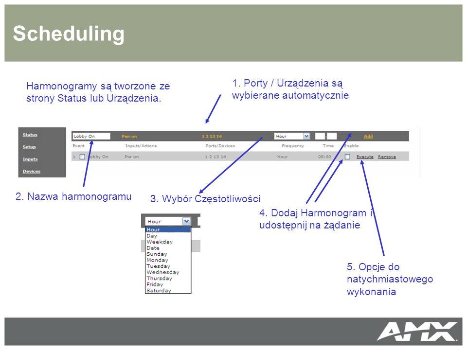 Scheduling 1. Porty / Urządzenia są wybierane automatycznie