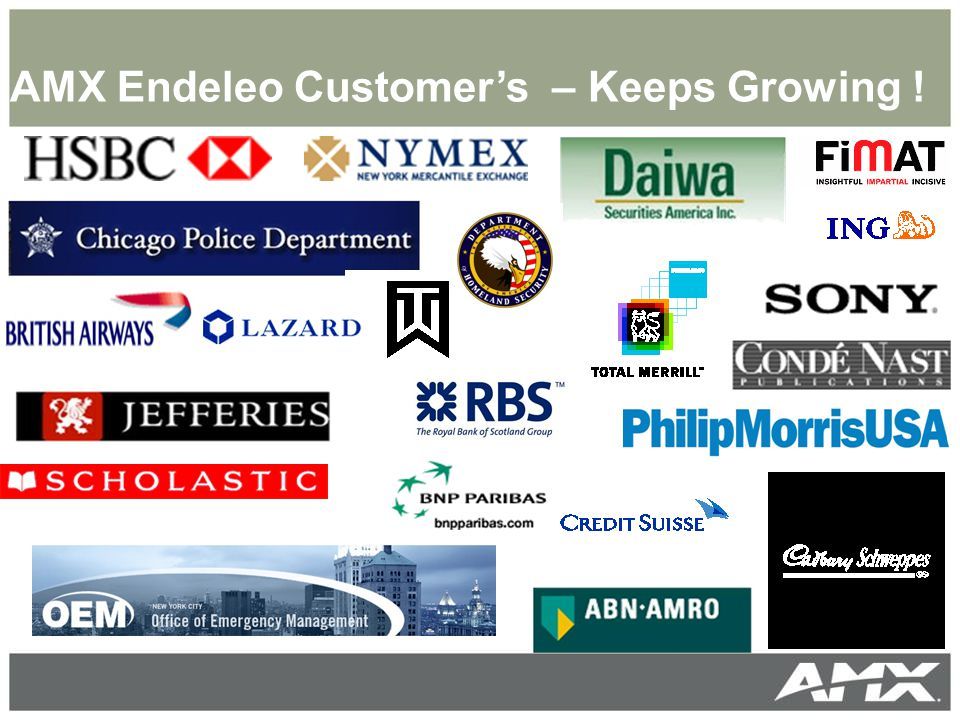 AMX Endeleo Customer's – Keeps Growing !
