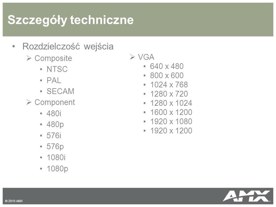 Szczegóły techniczne Rozdzielczość wejścia Composite VGA NTSC