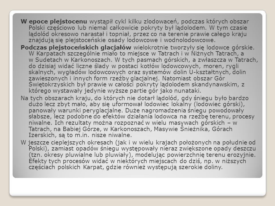 W epoce plejstocenu wystąpił cykl kilku zlodowaceń, podczas których obszar Polski częściowo lub niemal całkowicie pokryty był lądolodem.