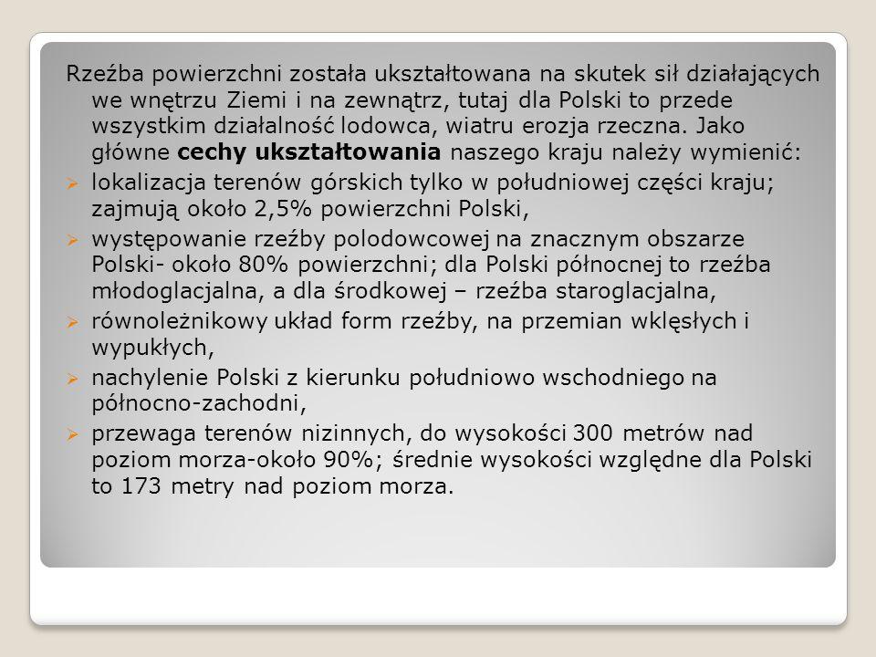 Rzeźba powierzchni została ukształtowana na skutek sił działających we wnętrzu Ziemi i na zewnątrz, tutaj dla Polski to przede wszystkim działalność lodowca, wiatru erozja rzeczna. Jako główne cechy ukształtowania naszego kraju należy wymienić: