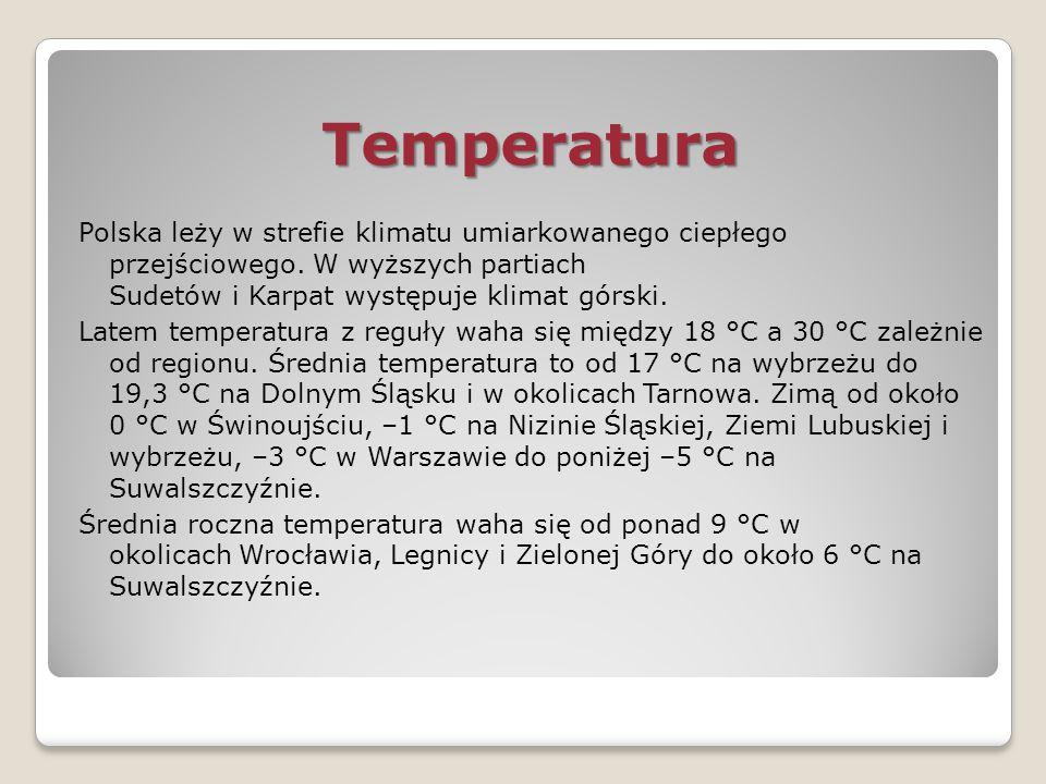 Temperatura Polska leży w strefie klimatu umiarkowanego ciepłego przejściowego. W wyższych partiach Sudetów i Karpat występuje klimat górski.
