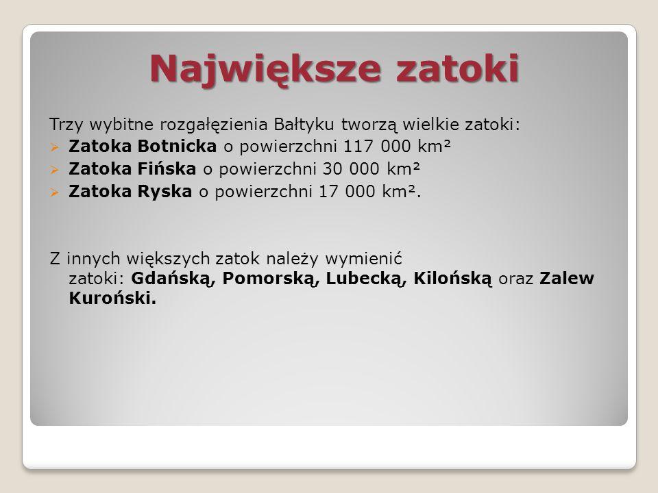 Największe zatoki Trzy wybitne rozgałęzienia Bałtyku tworzą wielkie zatoki: Zatoka Botnicka o powierzchni 117 000 km².