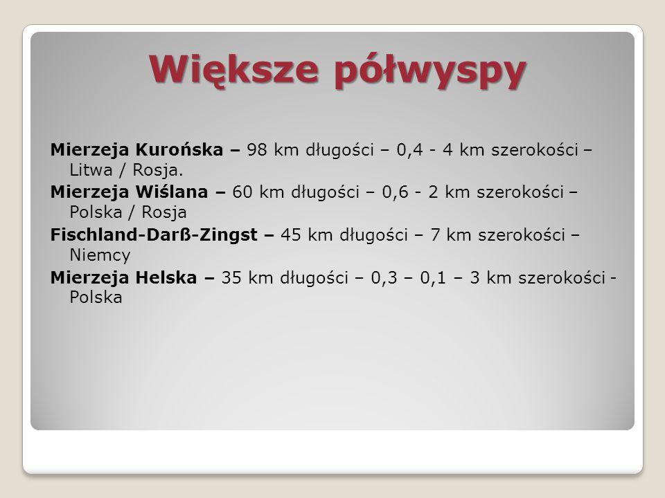 Większe półwyspy Mierzeja Kurońska – 98 km długości – 0,4 - 4 km szerokości – Litwa / Rosja.