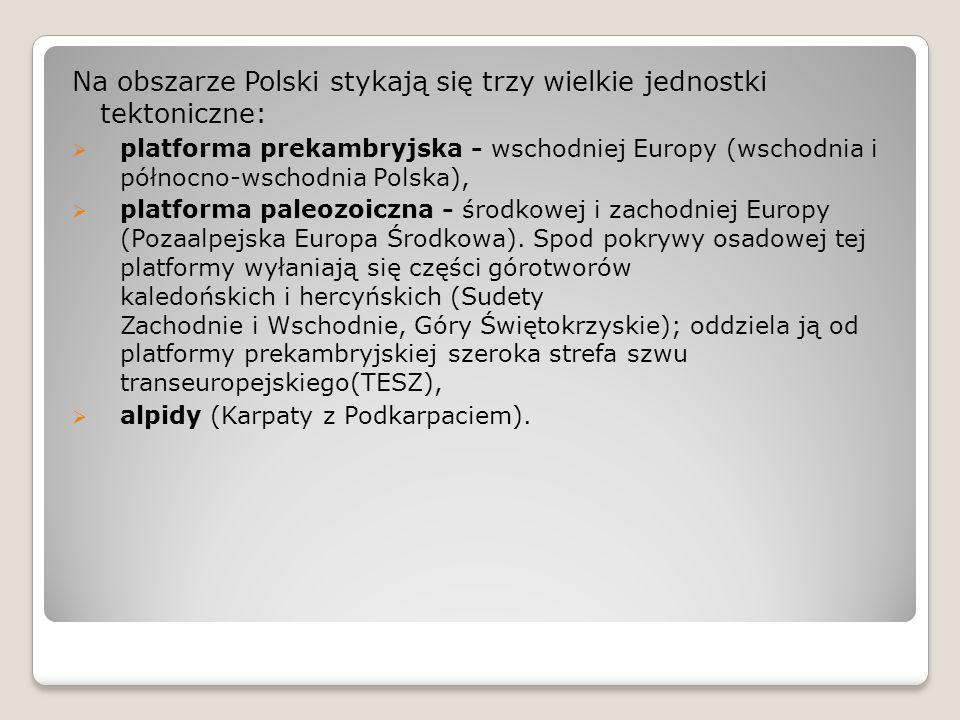 Na obszarze Polski stykają się trzy wielkie jednostki tektoniczne: