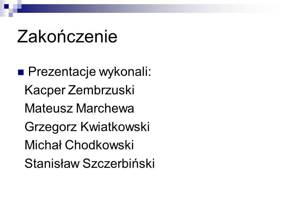Zakończenie Prezentacje wykonali: Kacper Zembrzuski Mateusz Marchewa
