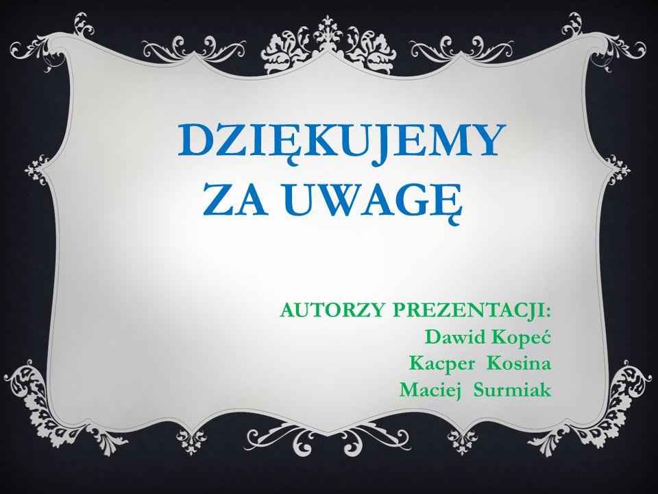ZA UWAGĘ AUTORZY PREZENTACJI: Dawid Kopeć Kacper Kosina Maciej Surmiak