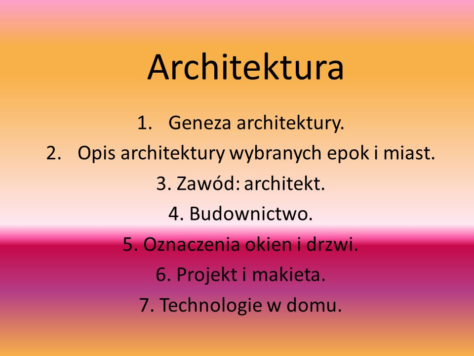 Architektura Geneza architektury.