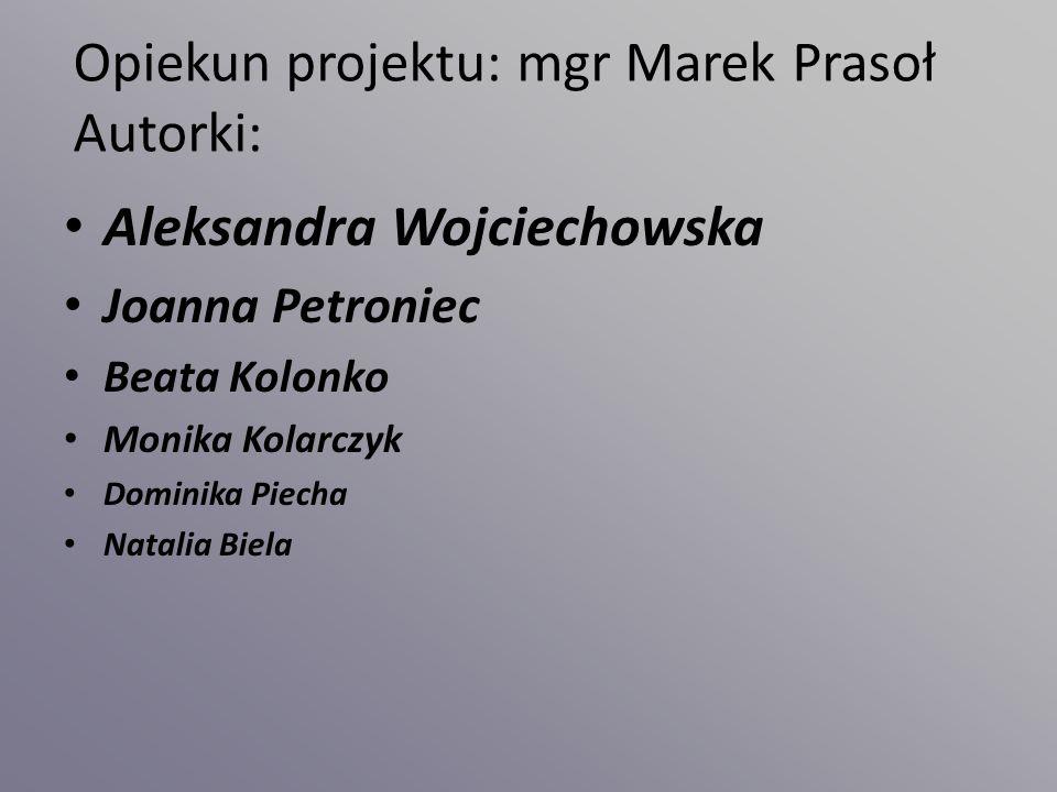 Opiekun projektu: mgr Marek Prasoł Autorki: