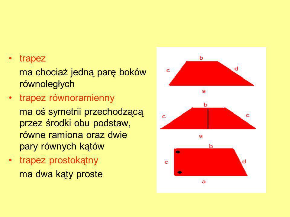 trapez ma chociaż jedną parę boków równoległych. trapez równoramienny.