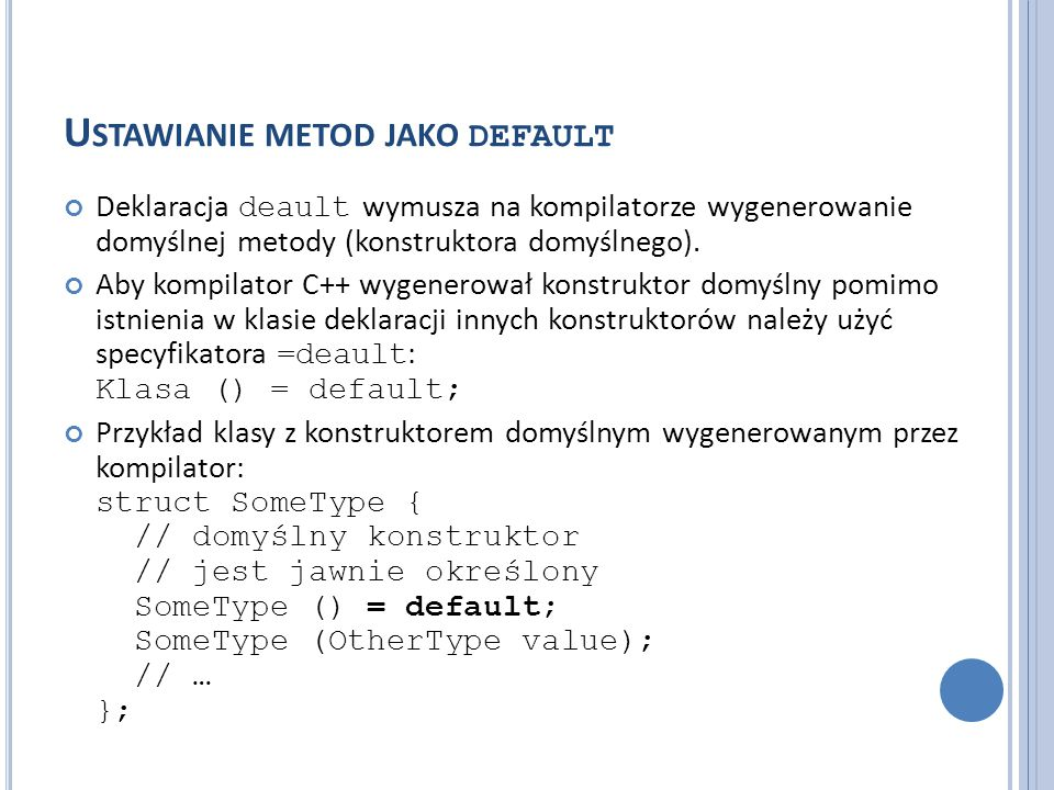 Ustawianie metod jako default