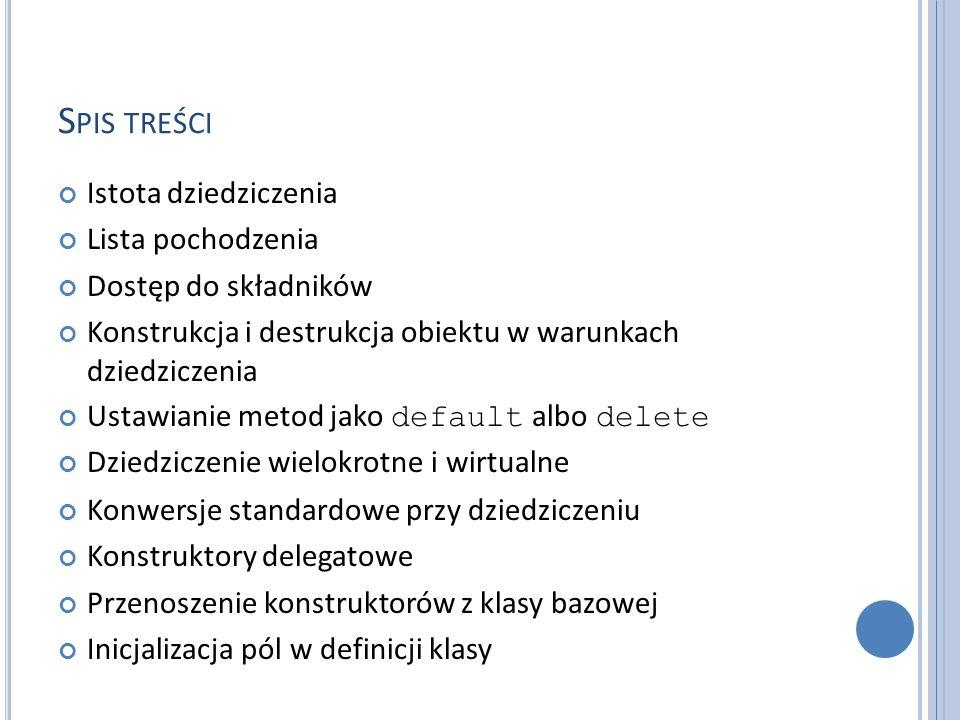 Spis treści Istota dziedziczenia Lista pochodzenia