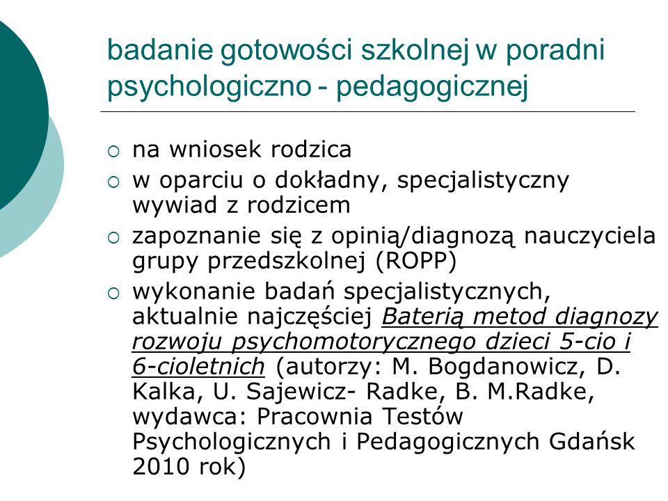 badanie gotowości szkolnej w poradni psychologiczno - pedagogicznej