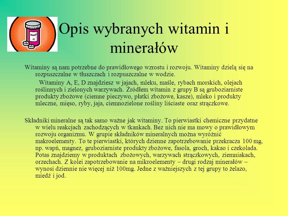 Opis wybranych witamin i minerałów