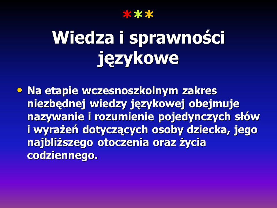 *** Wiedza i sprawności językowe