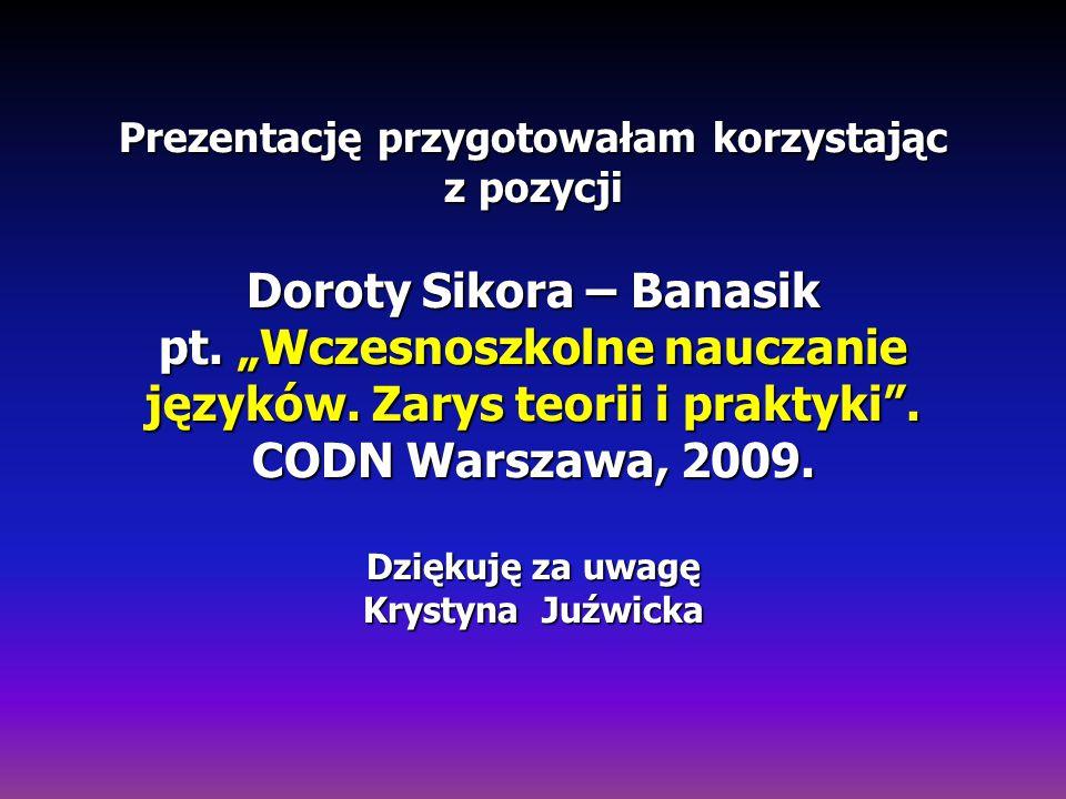 Prezentację przygotowałam korzystając z pozycji Doroty Sikora – Banasik pt.
