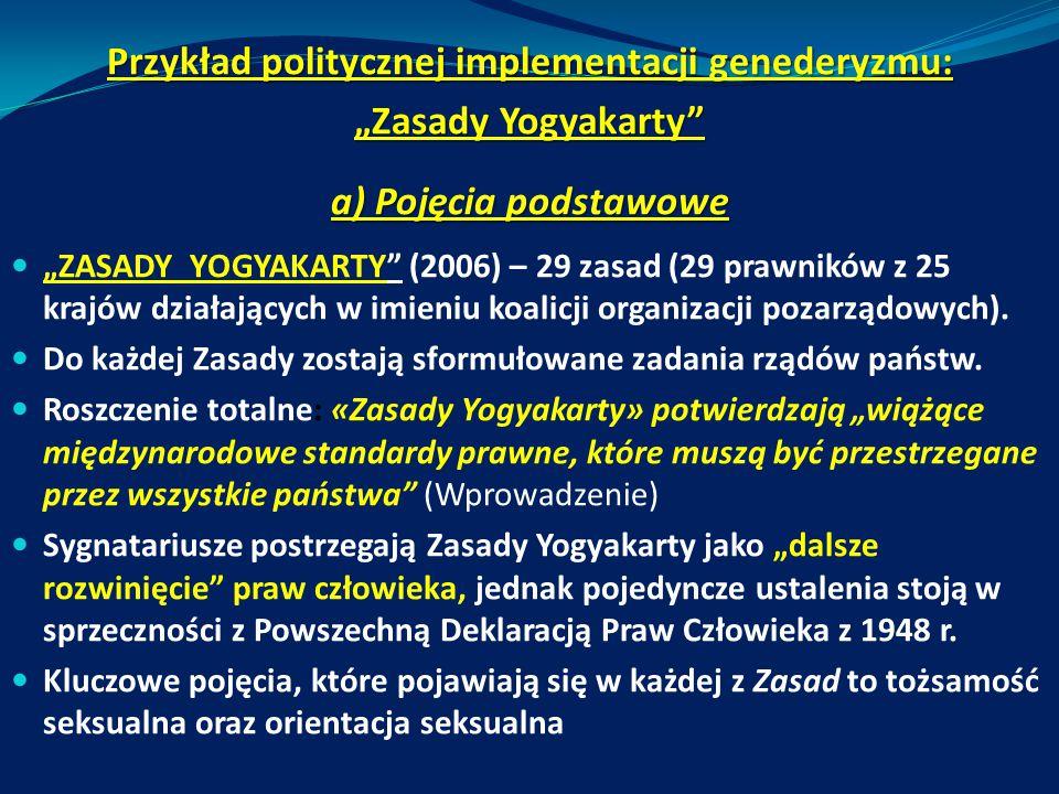 Przykład politycznej implementacji genederyzmu: