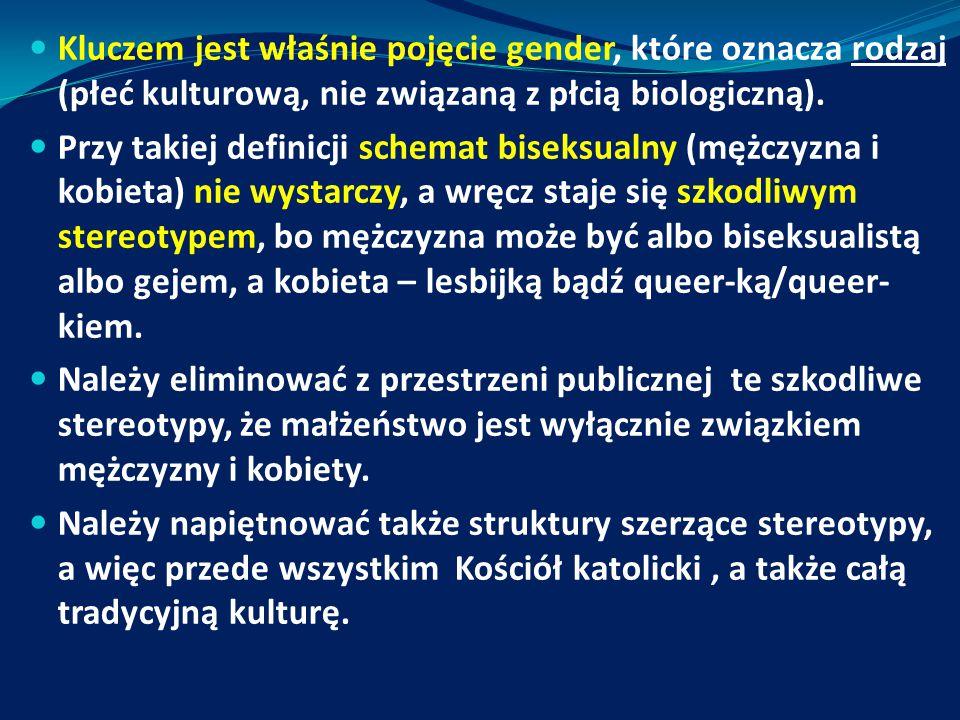 Kluczem jest właśnie pojęcie gender, które oznacza rodzaj (płeć kulturową, nie związaną z płcią biologiczną).