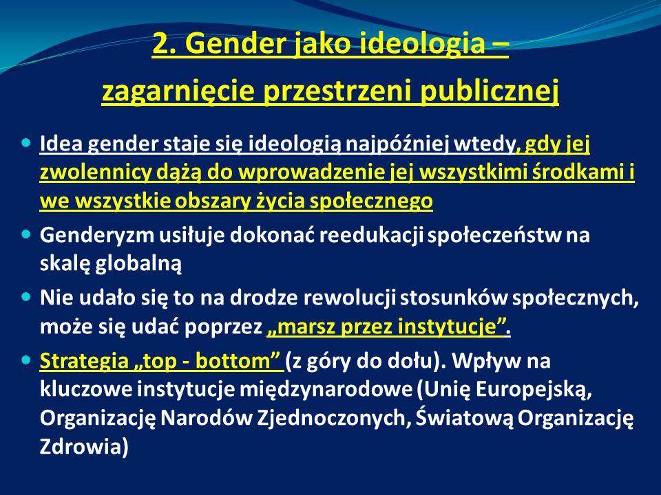 2. Gender jako ideologia – zagarnięcie przestrzeni publicznej