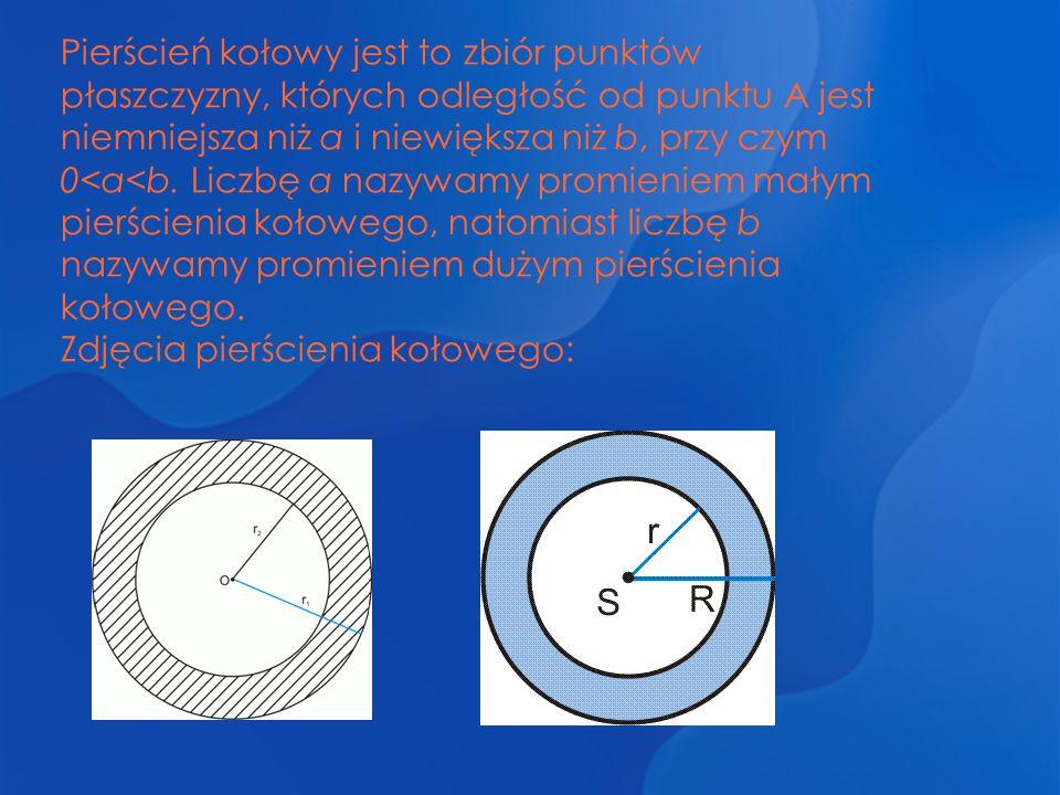 Pierścień kołowy jest to zbiór punktów płaszczyzny, których odległość od punktu A jest niemniejsza niż a i niewiększa niż b, przy czym 0<a<b. Liczbę a nazywamy promieniem małym pierścienia kołowego, natomiast liczbę b nazywamy promieniem dużym pierścienia kołowego.