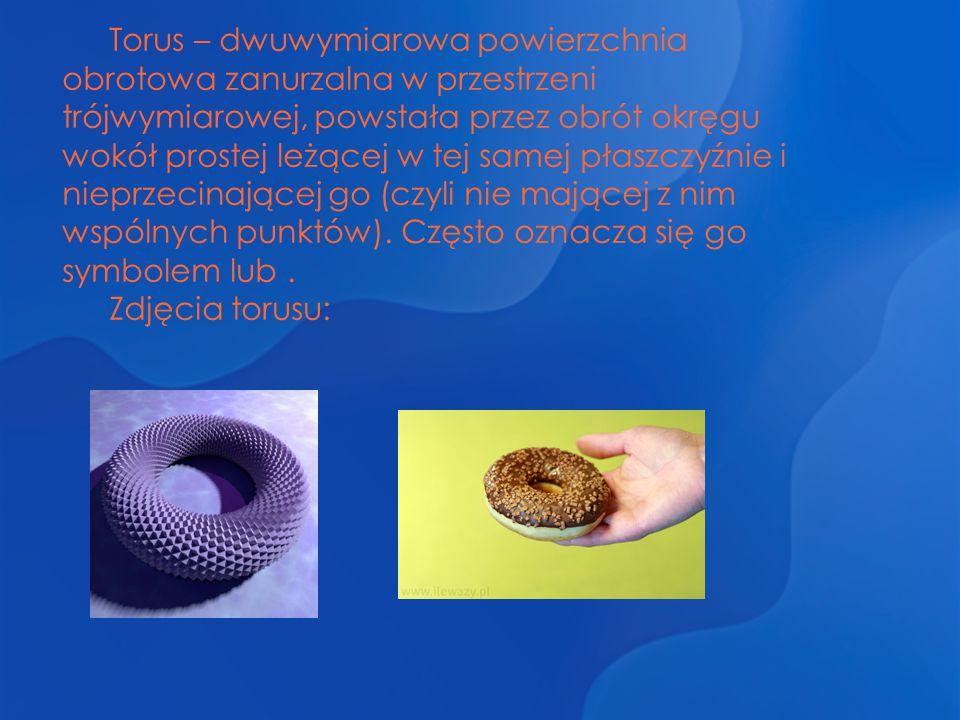 Torus – dwuwymiarowa powierzchnia obrotowa zanurzalna w przestrzeni trójwymiarowej, powstała przez obrót okręgu wokół prostej leżącej w tej samej płaszczyźnie i nieprzecinającej go (czyli nie mającej z nim wspólnych punktów). Często oznacza się go symbolem lub .
