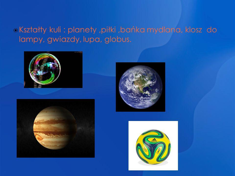 Kształty kuli : planety ,piłki ,bańka mydlana, klosz do lampy, gwiazdy, lupa, globus.