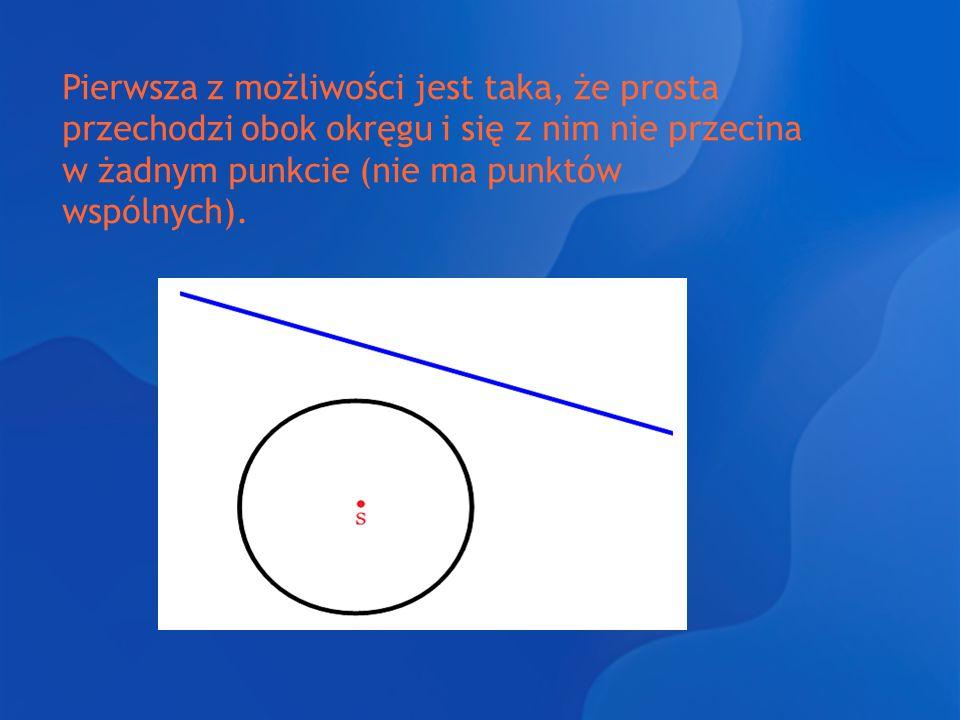 Pierwsza z możliwości jest taka, że prosta przechodzi obok okręgu i się z nim nie przecina w żadnym punkcie (nie ma punktów wspólnych).