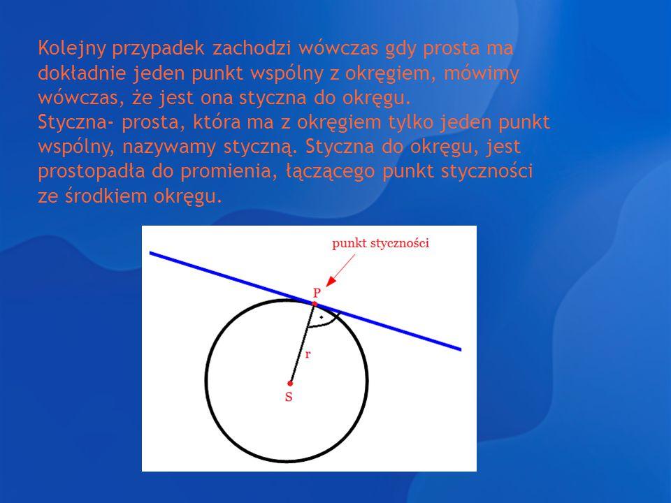 Kolejny przypadek zachodzi wówczas gdy prosta ma dokładnie jeden punkt wspólny z okręgiem, mówimy wówczas, że jest ona styczna do okręgu.