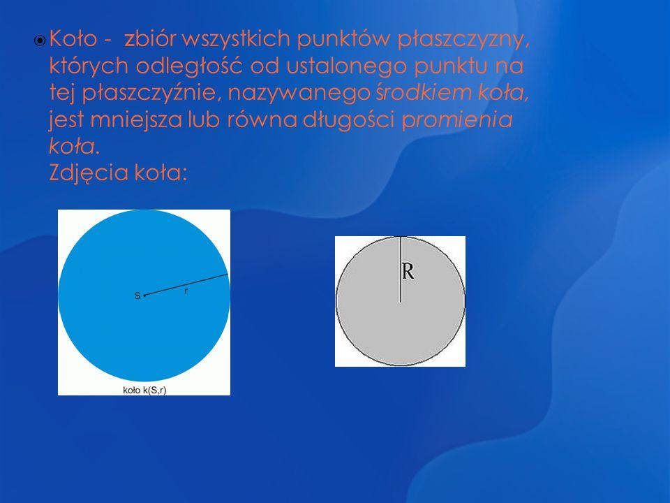 Koło - zbiór wszystkich punktów płaszczyzny, których odległość od ustalonego punktu na tej płaszczyźnie, nazywanego środkiem koła, jest mniejsza lub równa długości promienia koła.