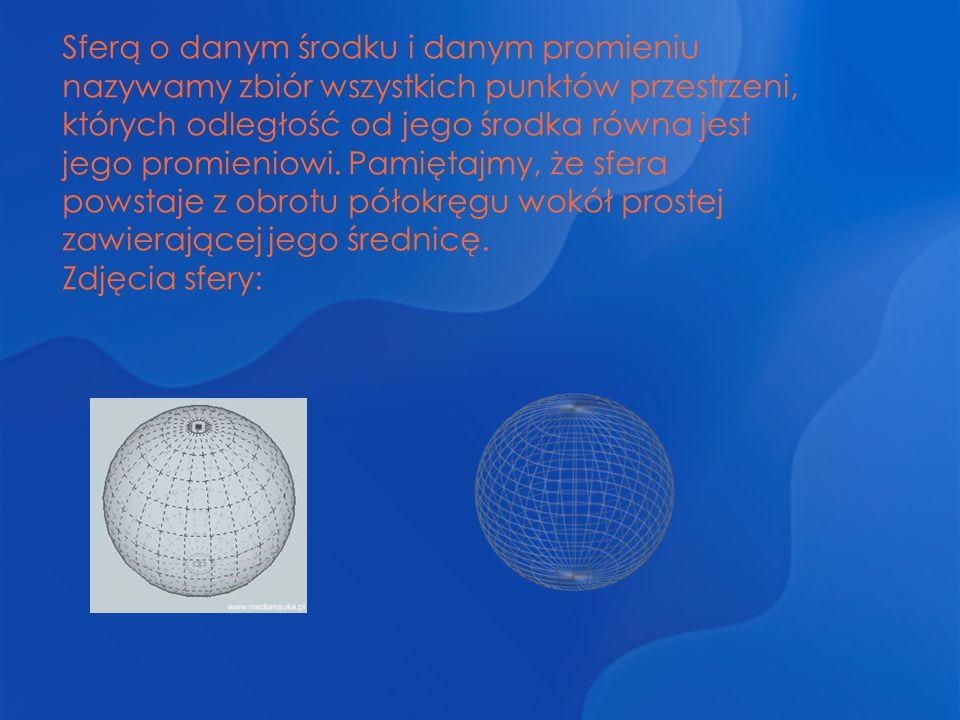 Sferą o danym środku i danym promieniu nazywamy zbiór wszystkich punktów przestrzeni, których odległość od jego środka równa jest jego promieniowi. Pamiętajmy, że sfera powstaje z obrotu półokręgu wokół prostej zawierającej jego średnicę.