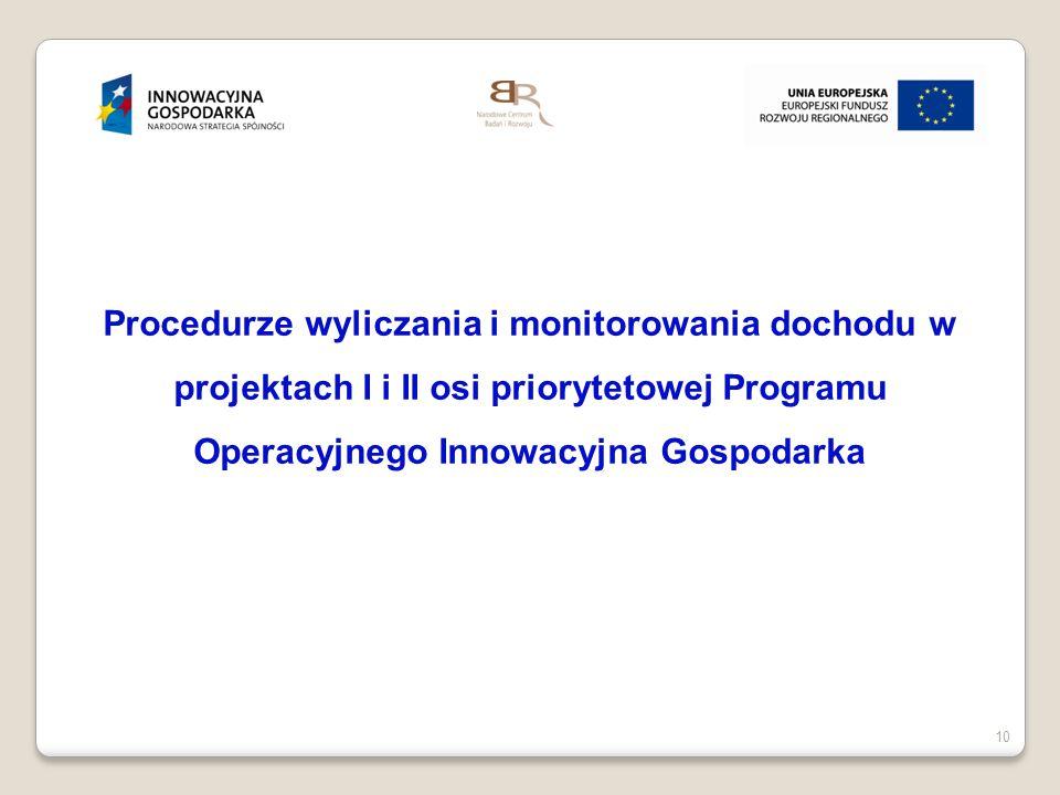 Procedurze wyliczania i monitorowania dochodu w projektach I i II osi priorytetowej Programu Operacyjnego Innowacyjna Gospodarka