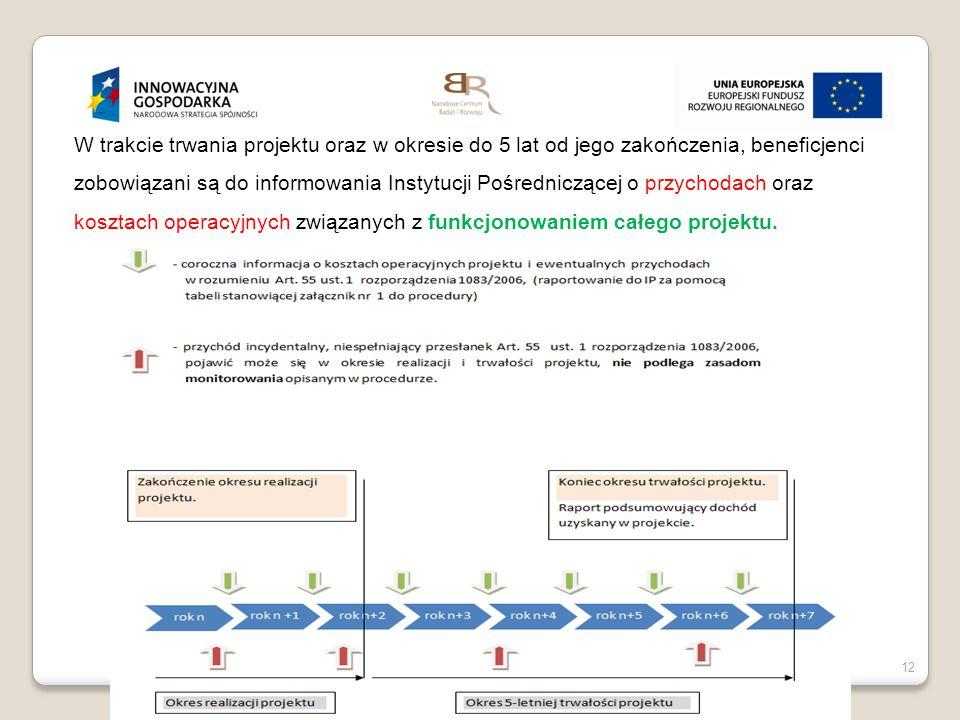 W trakcie trwania projektu oraz w okresie do 5 lat od jego zakończenia, beneficjenci zobowiązani są do informowania Instytucji Pośredniczącej o przychodach oraz kosztach operacyjnych związanych z funkcjonowaniem całego projektu.