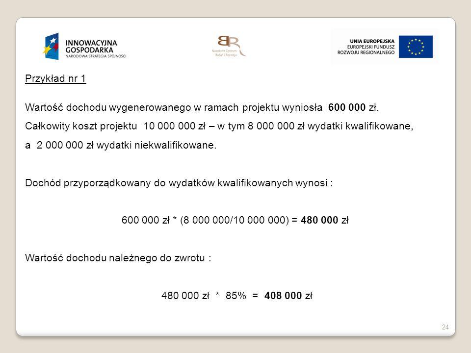 Przykład nr 1 Wartość dochodu wygenerowanego w ramach projektu wyniosła 600 000 zł.
