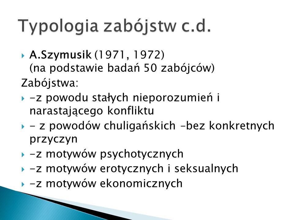 Typologia zabójstw c.d. A.Szymusik (1971, 1972) (na podstawie badań 50 zabójców) Zabójstwa:
