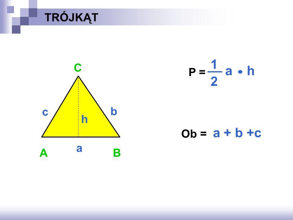 TRÓJKĄT a h 1 2 C P = c b h a + b +c Ob = a A B