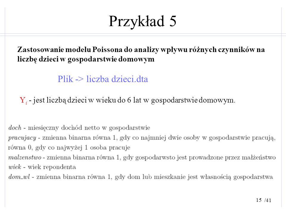 Przykład 5 Plik -> liczba dzieci.dta