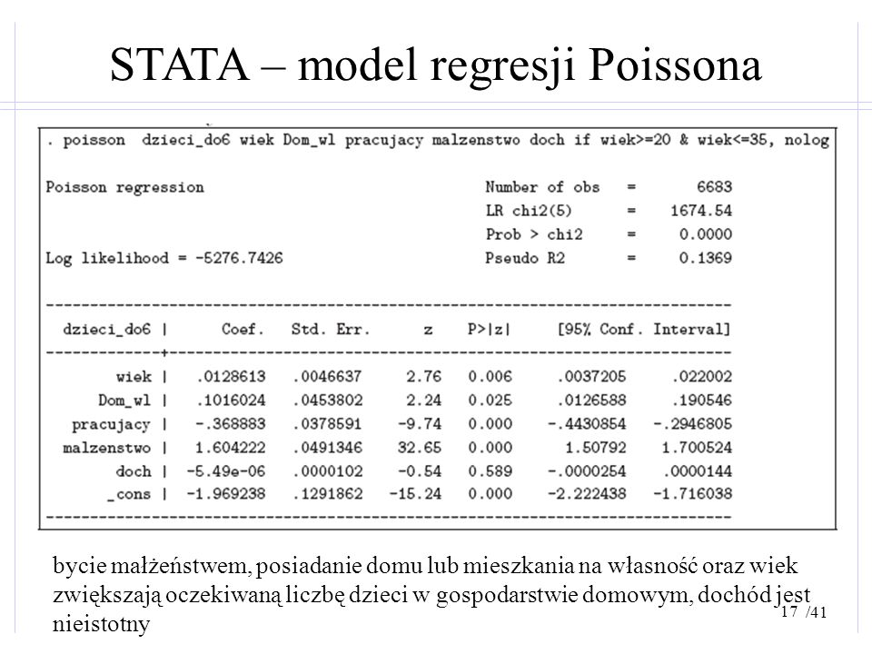 STATA – model regresji Poissona