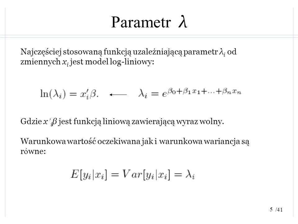 Parametr λ Najczęściej stosowaną funkcją uzależniającą parametr λi od zmiennych xi jest model log-liniowy: