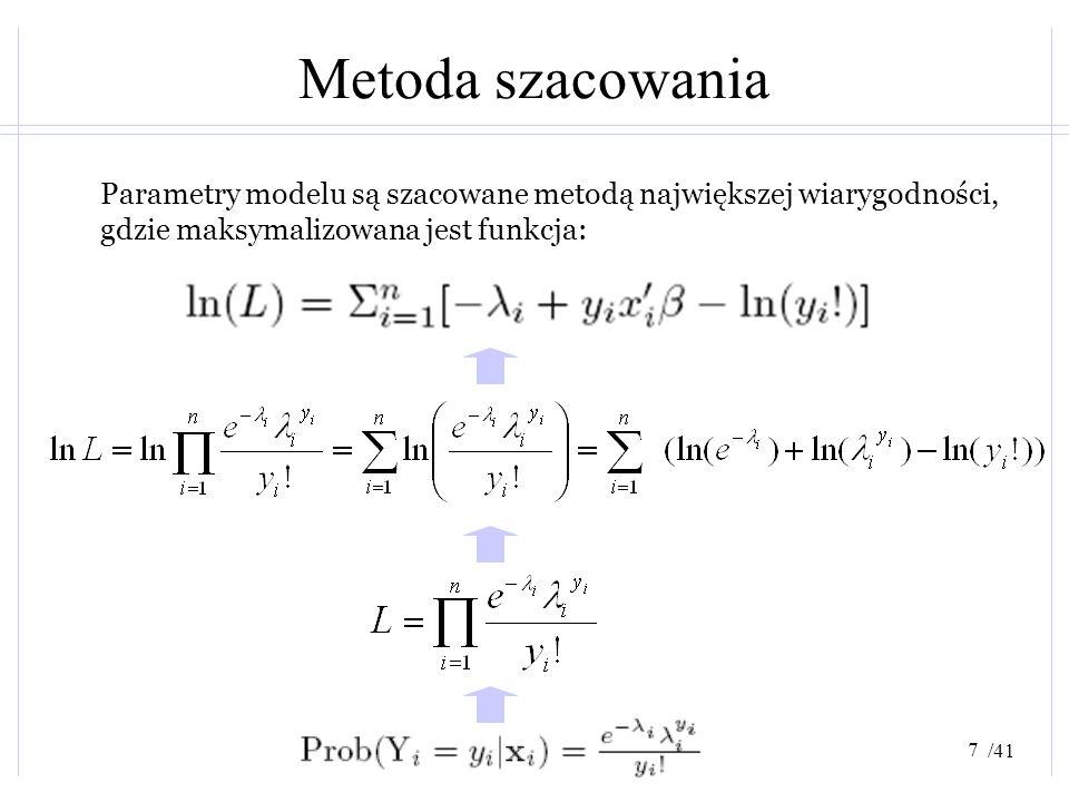 Metoda szacowania Parametry modelu są szacowane metodą największej wiarygodności, gdzie maksymalizowana jest funkcja:
