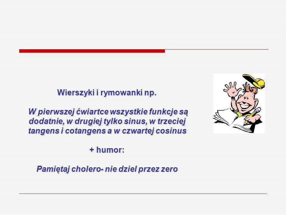 Wierszyki i rymowanki np. Pamiętaj cholero- nie dziel przez zero