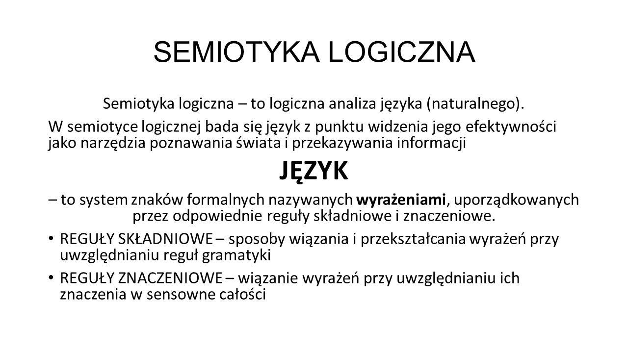 Semiotyka logiczna – to logiczna analiza języka (naturalnego).