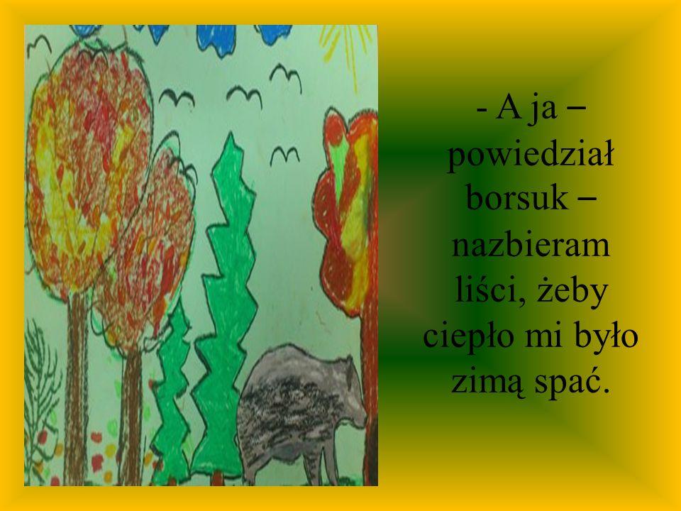 - A ja – powiedział borsuk – nazbieram liści, żeby ciepło mi było zimą spać.