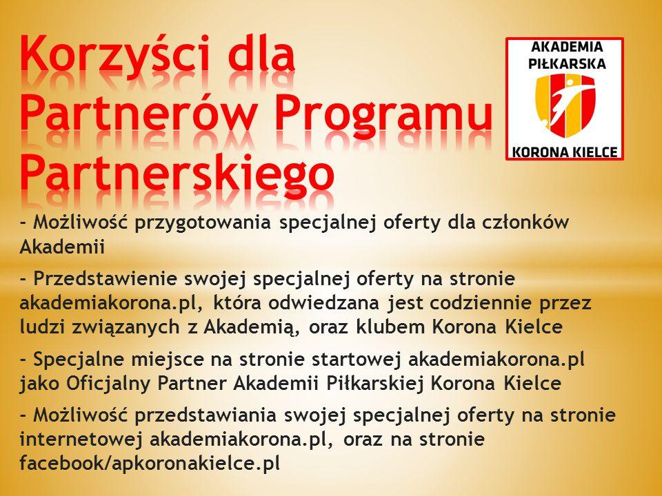 Korzyści dla Partnerów Programu Partnerskiego