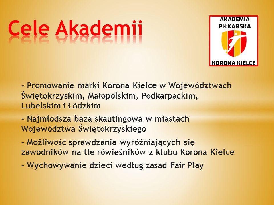 Cele Akademii - Promowanie marki Korona Kielce w Województwach Świętokrzyskim, Małopolskim, Podkarpackim, Lubelskim i Łódzkim.